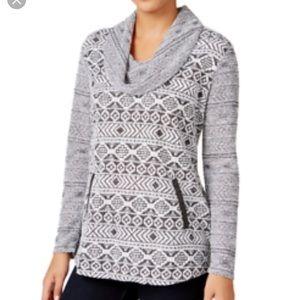 NWT Style & Co Cowel Neck Sweater Aztec Design
